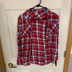 Red white and blue plaid button up